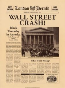 Portada London Herald con la noticia del Crash de Wall Street
