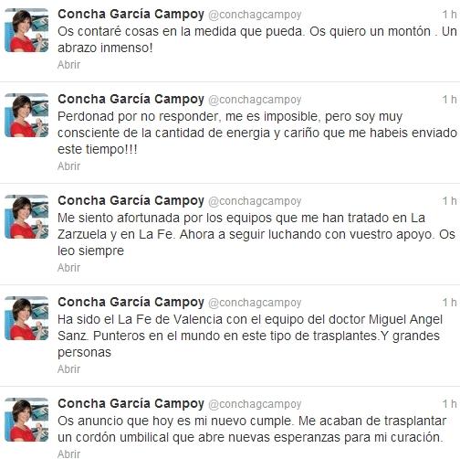 Concha García Campoy, operada de nuevo con éxito